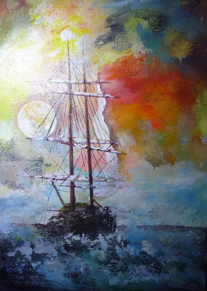 barca care navighează sub lună
