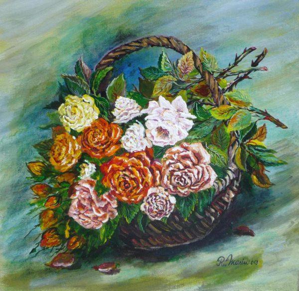 trandafiri într-un coș
