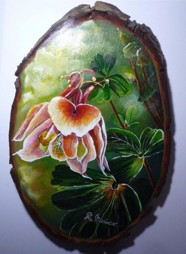 pictura cu flori și frunze