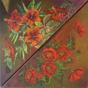 flori roșii în două triunghiuri