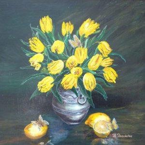 buchet de flori galbene într-o vază